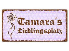Türschild Pünktchen mit Wunschtext 200 x 100 mm vintage violett - Hausnummern und Schilder online kaufen