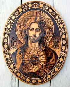 Sacred Heart of Jesus - woodburning by Theophilia