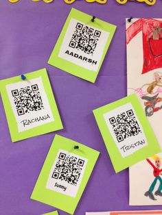 Book summaries accessible via QR codes.Also mentions app called Croak It for recording Technology Posters, Teaching Technology, Teaching Tools, Library Lessons, Library Ideas, Centre De Documentation, Elementary School Library, Learning Stations, Library Activities