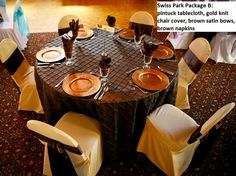 Swiss Park Banquet Center Package A with pintuck upgrade. Full length chocolate brown pintuck tablecloth and matching cotton/poly napkins. Chair covers in gold knit and brown satin bows. Gold plate chargers make a great touch! Plate Chargers, Charger Plates, Orange Plates, Gold Chairs, Satin Bows, Chair Covers, Chocolate Brown, Burnt Orange