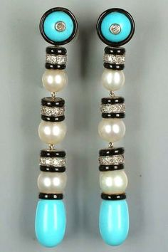 A pair of art deco diamond, pearl and turquoise earpendants, by Frederick Boucheron, circa 1925,