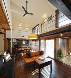 Open Ceiling, Japanese Modern, Studio Apartment Decorating, Minimal Home, Loft Spaces, Inspired Homes, Modern House Design, Living Room Interior, House Plans