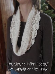 Not Afraid of the Snow: Upcycle Sweater to Infinity Scarf Tutorial