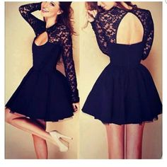 Little black dress Still in package....just too short for me. Lace sleeves...open back Dresses