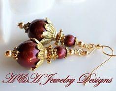 Dark Red Pearl Gold Earrings, Antique Gold Swarovski Bordeaux Red Pearl Earrings, Red Pearl Jewelry Earrings, Cranberry Red Pearl Earrings by hhjewelrydesigns on Etsy