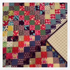 All finished with my #scrappytripalong quilt! Houndstooth backing and a polka dot binding, now bits off to the wash to get wrinkly and cozy! #finishit2013 #finishshit  by ann-marie s., via Flickr