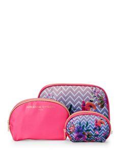 Adrienne Vittadini Pink Floral Three-Piece Cosmetic Bag Set