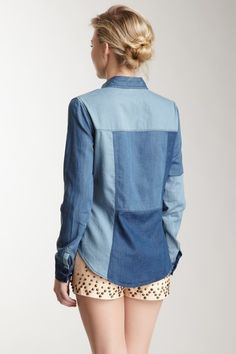 Patched Chambray Shirt