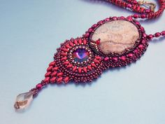 Bead Embroidery, Necklace,  Statement jewelry, Gemstone necklace,  Seed bead necklace, Corall fossils , Red, Swarovski , Gold
