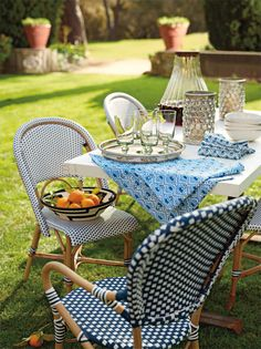 Serena and Lily summer - outdoor entertaining.  And they have french bistro chairs!