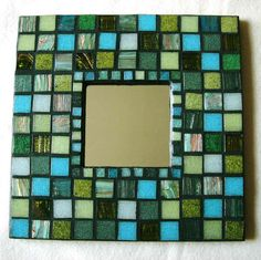 Mosaic Mirror - Earthy Forest Greens by PoPkO!, via Flickr Mirror Mosaic, Mosaic Art, Mosaic Glass, Mosaic Tiles, Glass Art, Stained Glass, Mirror Crafts, Crafts With Pictures, Mosaic Crafts