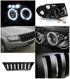 Black LED DRL Halo Projector Jeep Grand Cherokee Headlights and Jeep WJ Hood Grille