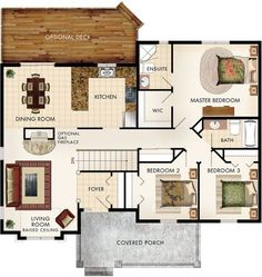 Cottonwood Floor Plan If have fireplace on side of living room and open between living and dining room