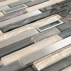 Modern Stainless Glass Mosaic Tile Linear Khaki Grey for bathroom wall. Home Gym Design, Modern Home Interior Design, Modern House Design, Interior Colors, Layout Design, Design Ideas, Best Kitchen Designs, Glass Mosaic Tiles, Trendy Home