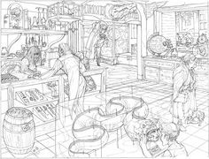 Curiosities Shoppe by nicholaskole on DeviantArt Landscape Background, Background Drawing, Fantasy Drawings, Perspective Drawing, Environment Design, Environmental Art, Video Game Art, Book Illustration, Art Reference