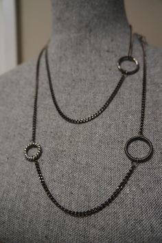 Long Gunmetal Necklace with Circle Links Made in Canada by Links & Locks, $20.00