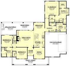 Farmhouse Style House Plan - 3 Beds 2.5 Baths 1993 Sq/Ft Plan #430-163 Floor Plan - Main Floor Plan - Houseplans.com
