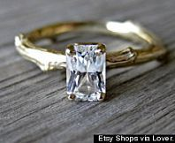 Love the ring fashioned as a twig and set with this stunning Emerald-cut Diamond solitaire.  Vintage ring.