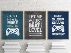 Cool set of Gamer Wall Art! Set of 3 Video Gamer Graphic Prints 8x10 or 11x14