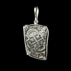 2 Reale Silver Coin Skull and Crossbones Pendant Atocha Sunken Tresure Jewelry