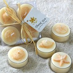 Mermaid Beachy Seashells | Seashell Tea Light Candles - Formal Seashell Tea Light Candles Favors ...