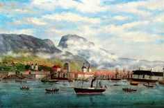 Vågen med Bergenhus 1883 Malt av Tycho Cristopher Jæger. («Bilder fra Bergen», a.s. John Griegs Forlag 1974).