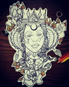 #neotraditional #tattoo #drawing #inprogress #moon #crown #knife #hungary #mandala #fall #hair