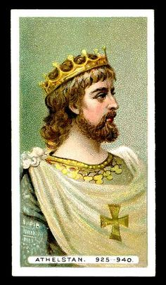 Athelstan, the first King of England. Athelstan was King of Wessex 924 - 927, and King of England 927 - 939. He was the grandson of Alfred the Great.