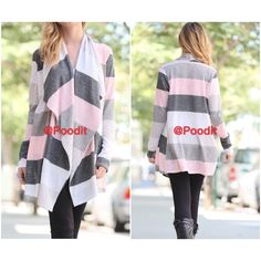 """HP POSH FEST 2015 cardi S M L Beautiful pale pink and gray cardigan  Available small medium and large  small bust 34-36 Medium bust 36-38 Large bust 38-40  Length shoulder down 31"""" Sleeve length shoulder seam down 25.5""""  Very light knit open front cardigan  NWOT and excellent quality   PRICE IS FIRM UNLESS BUNDLED    PLEASE COMMENT SIZE AND I WILL MAKE YOU A SEPARATE LISTING Light knit  Jackets & Coats"""
