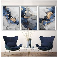 Blue And Gold Living Room, Grey And Gold Bedroom, Navy Living Rooms, Living Room Art, Watercolor Paint Set, Blue Painting, Turquoise Painting, Grey Wall Art, Navy Blue Wall Art