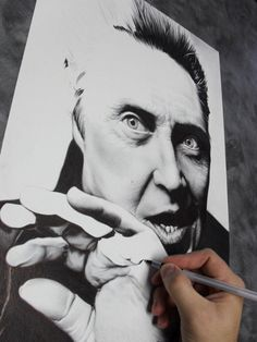 "ballpoint portrait of christopher walken by ""?"". I've never done something so detailed with ballpoints"