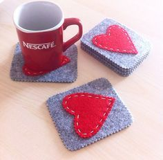 Felt crafts Valentine - Valentines Set of coasters Handmade Felt Coasters Handmade gift Original gift Felt heart Ready to ship Felt Crafts Patterns, Felt Crafts Diy, Felt Diy, Handmade Felt, Handmade Crafts, Sewing Crafts, Crafts For Kids, Etsy Handmade, Felt Coasters