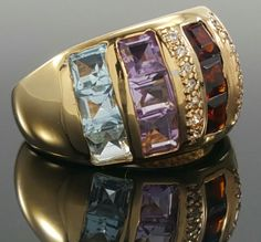 There are some minor scratches on the ring.<br/><br/>Featured here is an elegant Laura Ramsey sterling silver vermeil band with Garnet, Chrysoprase, Quartz, Amethyst and Topaz square cut settings. Garnet, Chrysoprase, Quartz, Amethyst and Topaz, CZ. Metal: Gold over Sterling Silver. | eBay!