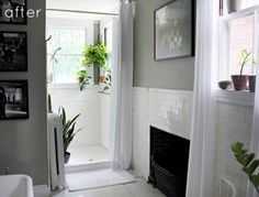 Before & After: Gray + Green Bathroom Redo