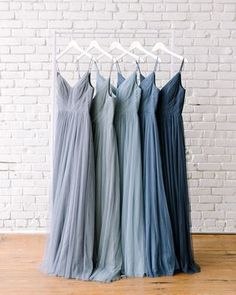 Left to right in tulle: Slate Blue, Better Together Blue, French Blue, Dusty Blue, Romantic Blue Bridesmaid Dress Colors, Bridesmaids And Groomsmen, Wedding Bridesmaid Dresses, Wedding Attire, Steel Blue Bridesmaid Dresses, Royal Blue Bridesmaids, Prom Dresses, Formal Dresses, Wedding Colors