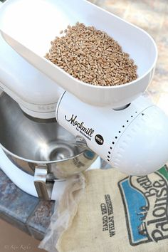 5 Reasons to grind your own stone ground flour with a Mockmill Stone Mill (plus a bonus Whole Wheat Pita Recipe) Wheat Pita Recipe, Pita Recipes, Whole Wheat Pita, Grain Foods, Kitchen Aid Mixer, Cookware, Berries, Baking, Healthy