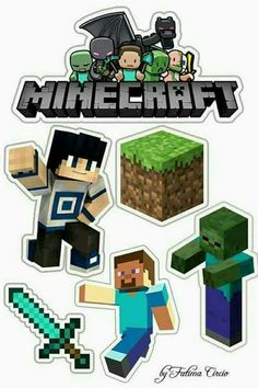 - Oh My Fiesta! for Geeks cake toppers Minecraft Poster, Craft Minecraft, Minecraft Birthday Card, Minecraft Party Decorations, Minecraft Pictures, Minecraft Creations, Minecraft Ideas, Free Minecraft Printables, Minecraft Skins