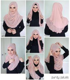 Halfmoon hijab tutorial. Sweet!