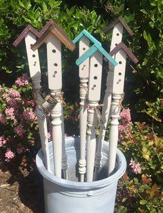 Birdhouse Garden Stakes, Yard Art, Garden Decor, Large garden stake, bird house, backyard decor by CountryHeartCityGirl on Etsy https://www.etsy.com/listing/290088619/birdhouse-garden-stakes-yard-art-garden