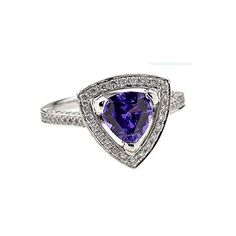 Modern cluster ring with a trillian shaped 1.26ctbeautiful colour Tanzanite and 0.57ct's of diamond , set in 18ct white gold  If the size you require is not listed please contact us on queries@cliveranger.co