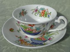 Antique English Porcelain Tea Cup & Saucer Printed Hand Coloured C1835 Ridgway | eBay