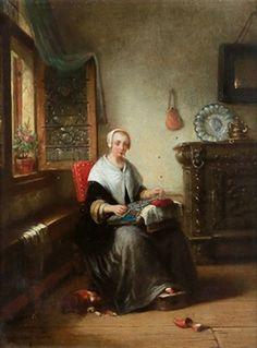 Huile sur toile 1856 de Alois Stanislas LION (belge 1834 - 1857)