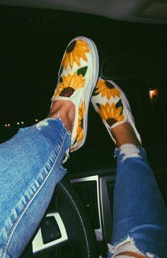 aesthetic pics with vans Painted Vans, Hand Painted Shoes, Painted Clothes, Sock Shoes, Shoe Boots, Sunflower Vans, Custom Vans Shoes, Cute Vans, Dream Shoes