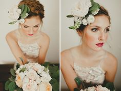 Want to wear flowers at your wedding, well you can! This beautiful hair piece and bouquet were created by Lovely Leaves. We're loving this fresh makeup and added lip color by FlAir Style Lounge. Captured by the talented Lauren Apel Photo at Carrington Crossing. #laurenapelphoto #austin #austinwedding #bouquet