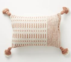Designed by Joanna Gaines in collaboration with Anthropologie, this tasseled pillow features geometric patterns created by heavy, handmade weaving techniques. Interior Design Inspiration, Decor Interior Design, Couch Pillows, Throw Pillows, Magnolia Journal, Real Estate Staging, Boho Chic Bedroom, Colorful Pillows, Weaving Techniques