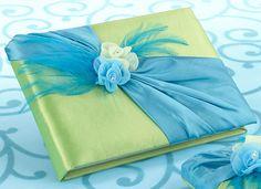 Wedding Blue & Green Guest Book. Beautiful!  www.ceceliasbestwishes.com