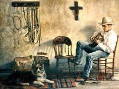 Song of the Cowboy by Joel Phillips Cowboy Pics, Cowboy Pictures, Cowboy Horse, Cowboy Art, Old Country Music, Country Art, Western Artists, Texas Man, Farm Paintings