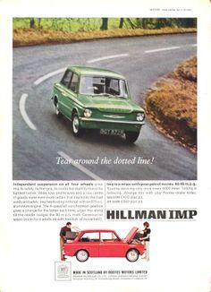 Hillman Autocar Motor Car Advert 1965 - Hillman Imp 1960s Cars, Van Car, Car Colors, Car Posters, Car Advertising, Commercial Vehicle, Toys For Boys, Old Cars, Vintage Ads