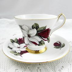 Vintage Tea Cup and Saucer with Red and White Flowers , Made by Windsor, English Bone China