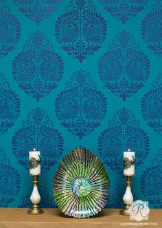 Blue Designer Wallpaper Look with DIY Wall Painting Stencils for Exotic Home Decor - Indian Damask Annapakshi Allover Stencil by Royal Design Studio Stencils